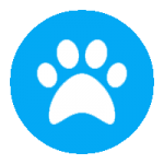 white paw in blue background