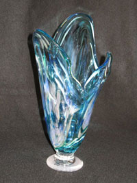 Crystal light green memorial vase