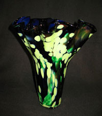 yellow green memorial vase
