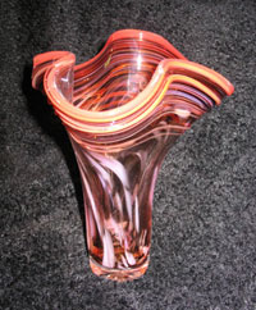 red orange memorial vase